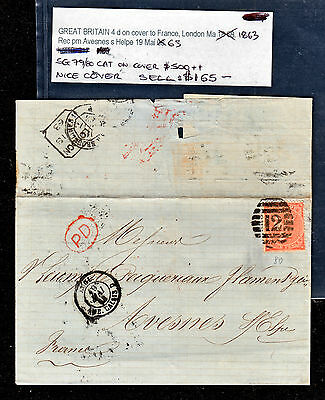 Gb 1863 Qv Cover To France