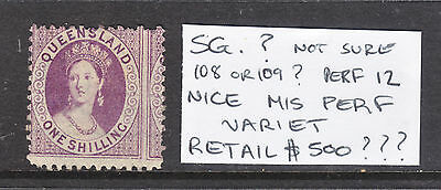 Qld 1/ Violet Qv Grossly Mis Perfed Sg 108 Or 109? Perf 12  Mh