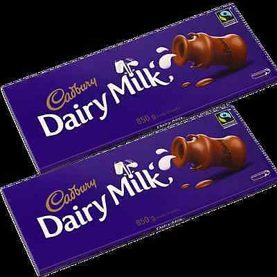 2 Bars of 850gm BAR CADBURYS DAIRY MILK CHOCOLATE Massive Bar Comes In Own Box