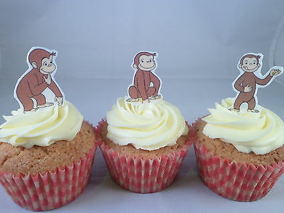 18 Mini Curious George *WAFER* Edible Cupcake Cake Toppers *Standups*