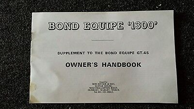 Bond equipe 1300 gt.4s car owners handbook supplement  as pictures