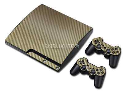 Gold Carbon Skin Sticker Decal Vinyl For PS3 Slim PlayStation 3