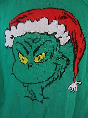 Grinch Dr. Seuss Winter Christmas Green Long Sleeve Knit Sweater  Youth L  AA194