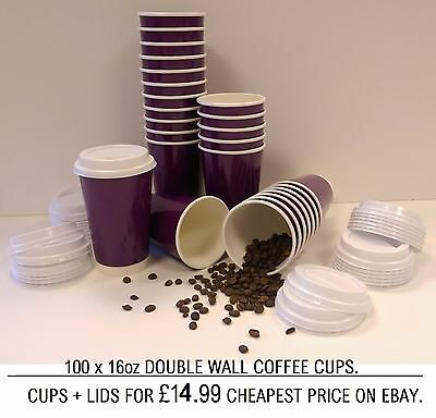 100 x 16 OZ TAKEAWAY COFFEE HOT DRINK PURPLE DOUBLE WALL PAPER CUPS WITH LIDS