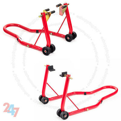 Front And Rear Motorcycle / Bike Paddock Stand / Stands Combo / Red Pair S247