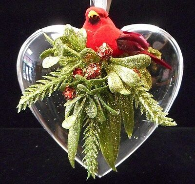NEW Kissing Krystals Heart with Cardinal Classic Red Ornament by Ganz