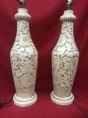 Vintage Pair Of Mid Century Ceramic Swirl & Floral Textured Table Lamps