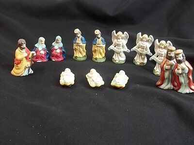 """Miniature Nativity Figures Ceramic Lot of 13 Tallest About 3"""""""