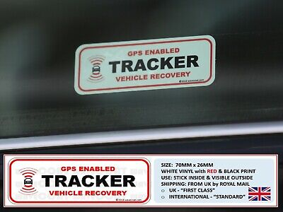 2 x TRACKER FITTED WINDOW STICKERS, GPS ENABLED,VEHICLE, CAR VAN TRUCK RECOVERY