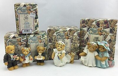 Cherished Teddies Bear Wedding Figurine Lot of 5 Flower Girl Boy Bride Groom