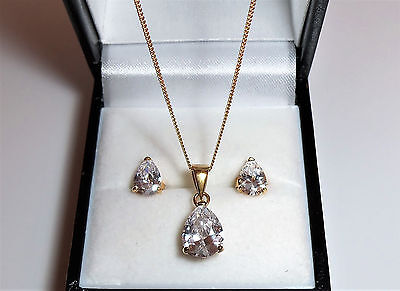 """18ct Gold over Sterling Silver Pear Cut Pendant and Earring Set 18"""" Chain."""
