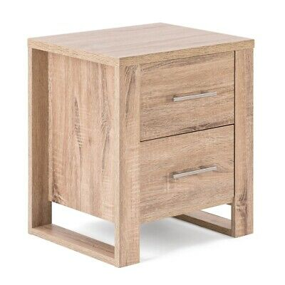 Christow Oak Effect 2 Drawer Bedside Table Bedroom Cabinet Nightstand H54cm