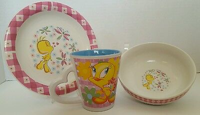 TWEETY BIRD Looney Tunes by Gibson Cup/ Plate/Bowl Girls Porcelain 3 pc set