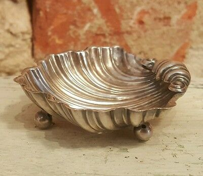 Early English Sterling Silver Footed Scallop Shell Bowl Birmingham JG Hallmark