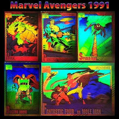 1991 Impel Marvel Universe Hologram Insert Complete 5 Card Set H1-H5 Rare