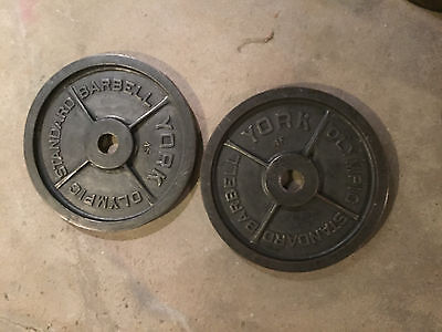 TWO Vintage York Olympic Standard Barbell 45 lb Plates Milled Made USA