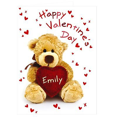 Happy Valentines Day Personalised Teddy Heart Card