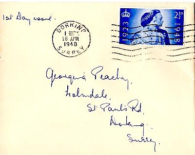 Gb 1948 King George Vi First Day Cover Silver Wedding April 26 Dorking Cds