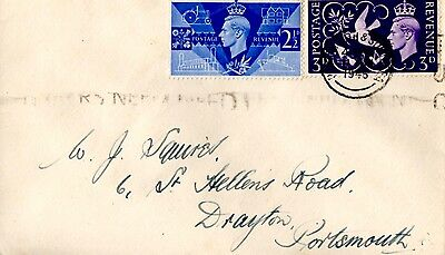 Gb 1946 Victory Plain First Day Cover 11 June  Portsmouth & Southsea Cancel