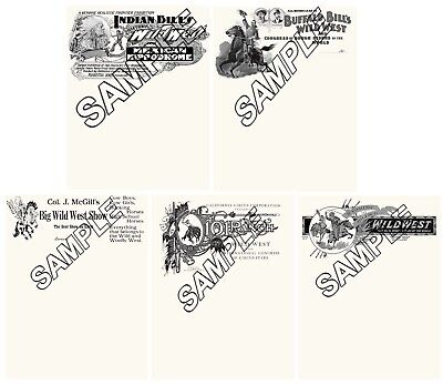 WILD WEST SHOWS BUFFALO BILL 5 Different Reproduction Letterheads.