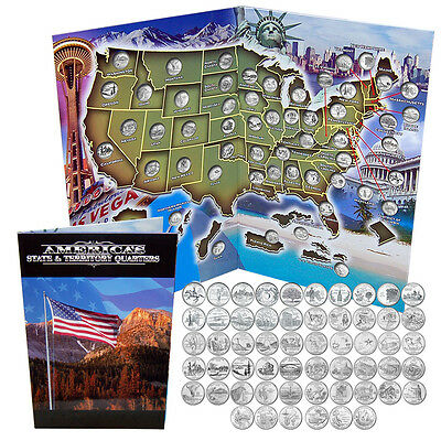 1999 - 2009 Complete Set of 56 Uncirculated BU Statehood Quarters in Album Map
