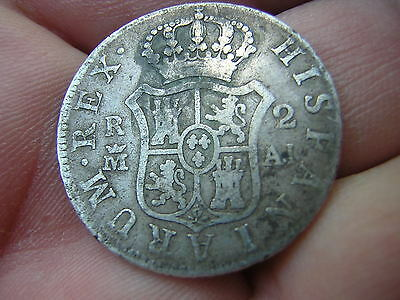 Antique Scarce 1808 MEXICO 2 Reales CAROLUS IIII Spanish Silver Coin - Uncleaned