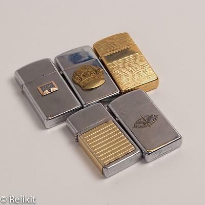 Lot of 5 1960s-70s Zippos Slim Lighters Brass, Various Condition Some Rare