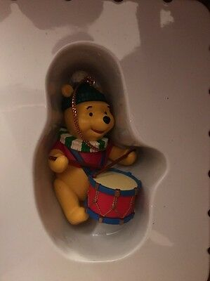 Disney Grolier Winnie The Pooh With Drum Christmas Decoration Ornament Writing