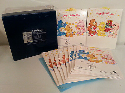 Vintage 80s Care Bears POP-UP Christmas Holiday Cards Lot of 10 & Envelopes