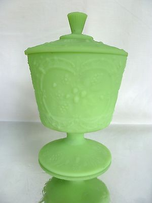 Vintage~FENTON~URANIUM~Opaque~Green~Glass~Footed~Lidded~Compote~Bowl~Urn