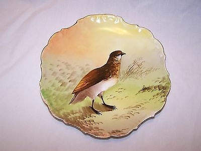 Limoges Flanbeau Hand Painted Plate with Bird - Artist Signed:  Gabriel