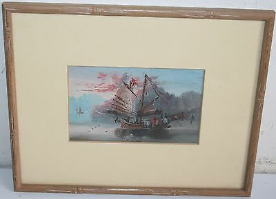 SuperB Old Impressionism Seascape Hand Painted Oil Painting Sail Boat