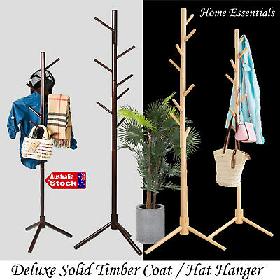 New Solid Timber Coat Clothes Suit Hat Hanger Wardrobe Organiser Stand Rack