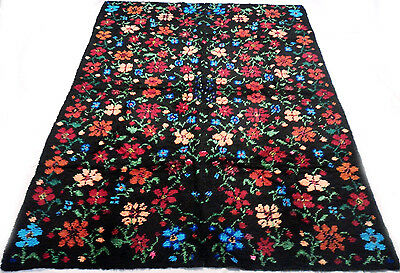 "Antique vintage handmade hand-knotted floral thick rug 75"" x 122"" 100% wool #301"
