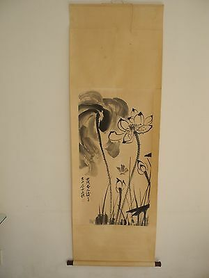 Excellent old Chinese Scroll Painting By Zhang Daqian :lotus Z11