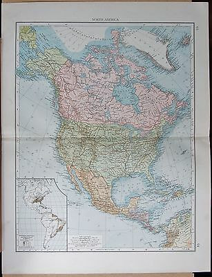 """1900 """"times""""  Large Antique Map - North America"""