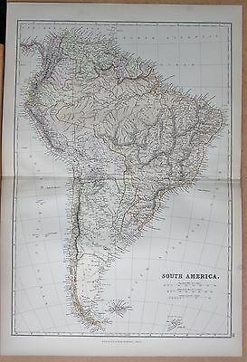 1882 Large Antique Map - South America