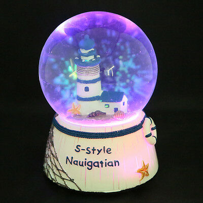 AU LED Light Up Color Changing Snowglobe Glitter Water Ball Music Box Gift Toys