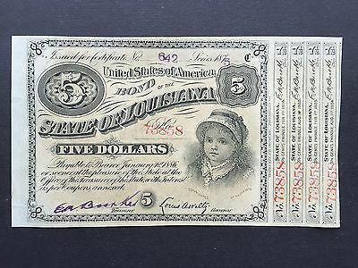 United States America USA 5 Dollars Baby Bond State of Louisiana Dated 1875 UNC
