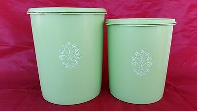 Retro Vintage Tupperware Green Canisters Containers With Lids Set Of 2