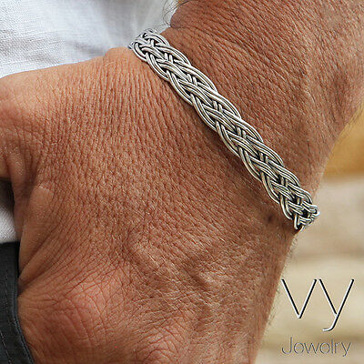 New 925 Sterling Silver Men's Women Braided Cuff Bracelet Free BIG Size + Gift