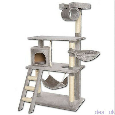 141CM Cat Scratching Post Tree House Hammock Bed Furniture Tower Ladder Silvery