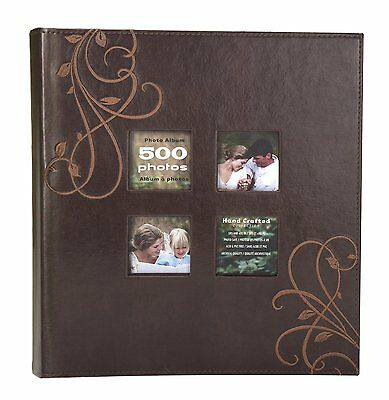 Kleer-Vu Bookshelf Albums Photo Embroidery Leather Collection Holds 500 4x6 5 -