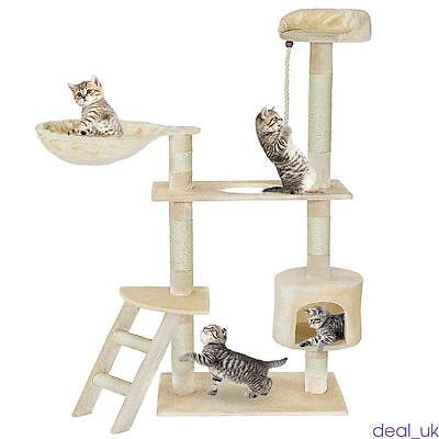 141cm Cat Tree Play House Tower Furniture Scratch Post Bed Basket Creamy White