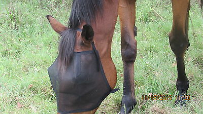 New 2 Horses Black   Fly Masks High Visability(4 Sizes)