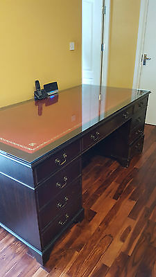 Mahogany Antique Reproduction Pedestal Twin Writing Desk 7 Drawer