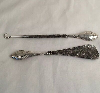 Antique Edwardian sterling silver Chester hallmarked 1916 button hook shoe horn