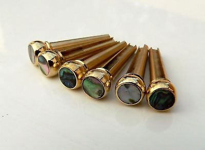 Brass & Abalone premium bridge pin set for acoustic guitars string pegs pins