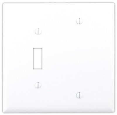 Cooper Wiring 4171W Decora Wall Plate, 2G 1 Blank 1 Toggle Switch, Pack of 5