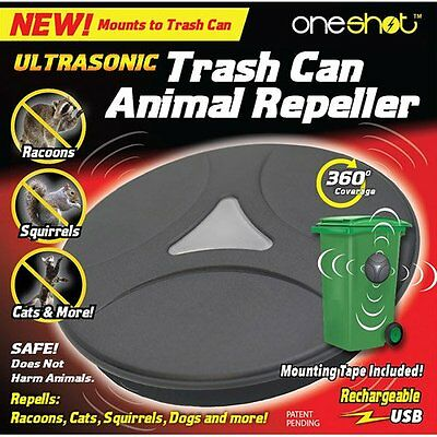 OneShot UltraSonic Animal/Pest Garbage Can Repeller Rechargeable Lithium Battery